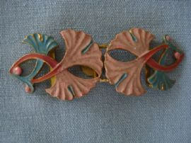 Art Nouveau Floral Buckle in Pink and Blue (SOLD)